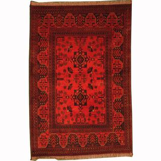 Herat Oriental Afghan Hand-knotted Tribal Khal Mohammadi Red/ Navy Wool Rug (3'5 x 5')