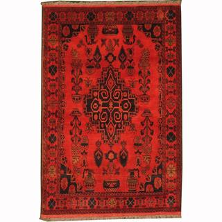 Herat Oriental Afghan Hand-knotted Tribal Khal Mohammadi Red/ Navy Wool Rug (3'3 x 4'10)