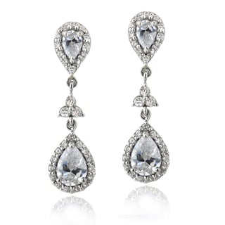 Icz Stonez Silver 2 5/8ct TGW Cubic Zirconia Teardrop Dangle Earrings