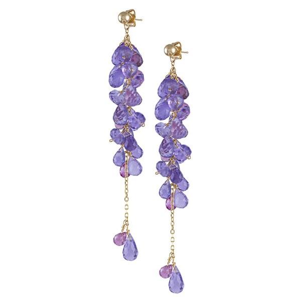 14k Yellow Gold Amethyst Pink Tourmaline Dangle Earrings