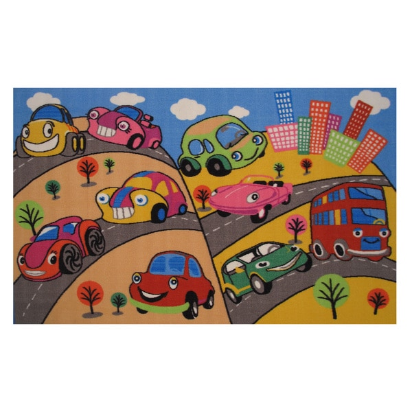 Fun Cars Blue Accent Rug (1'6 x 2'4)