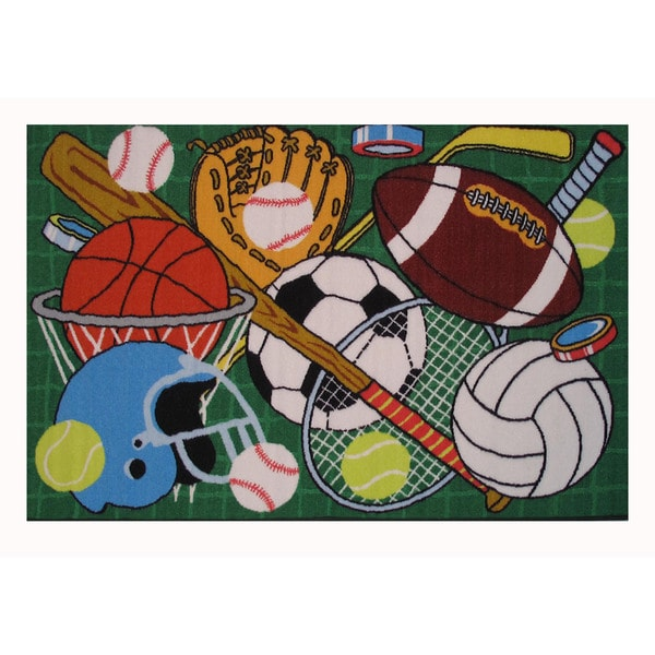 Let's Play Green Nylon Accent Area Rug (1'6 x 2'4) 14231191