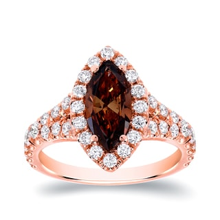 Auriya 18k Rose Gold 1 7/8ct TDW Natural Fancy Brown Marquise Diamond Engagement Ring (SI1-SI2)