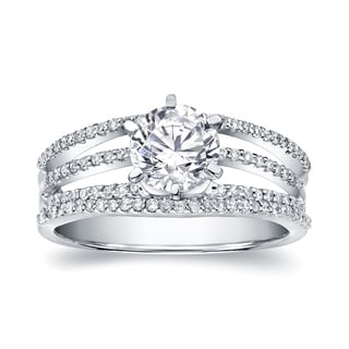 Auriya 14k White Gold 1 1/6ct TDW Certified Round Diamond Engagement Ring (H-I, SI1-SI2)