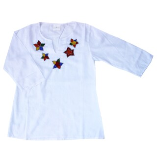 Azul Swimwear Girls White Beaded Tunic