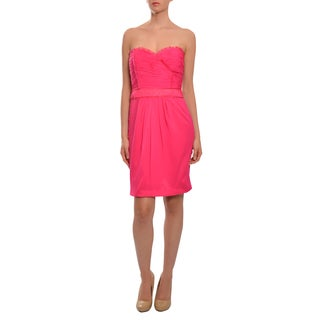 Xeniya Women's Hot Pink Silk Chiffon Strapless Dress
