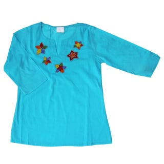 Azul Swimwear Girls Turquoise Beaded Tunic
