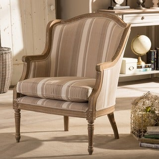 Baxton Studio Charlemagne Brown Stripe Traditional French Accent Chair