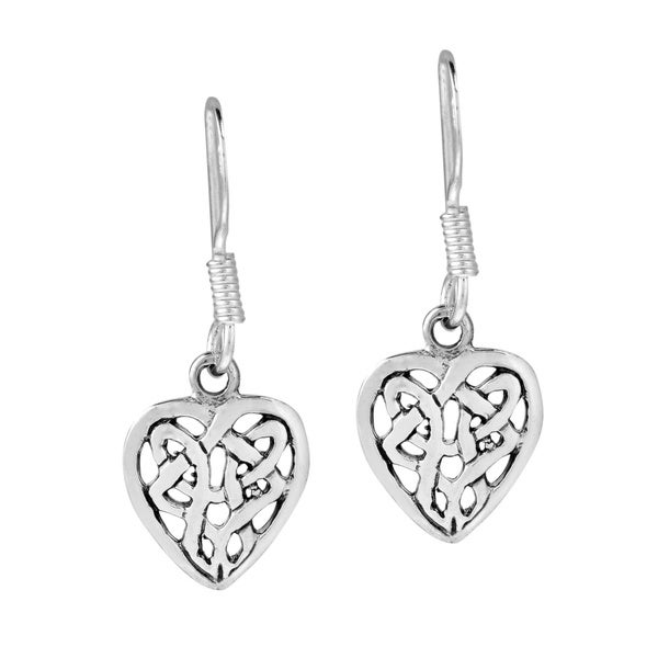 True Romance Sterling Silver Celtic Heart Silver Dangle Earrings (Thailand)