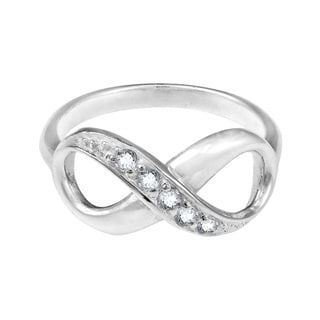 Everlasting Romance Sterling Silver Cubic Zirconia Infinity Ring (Thailand)