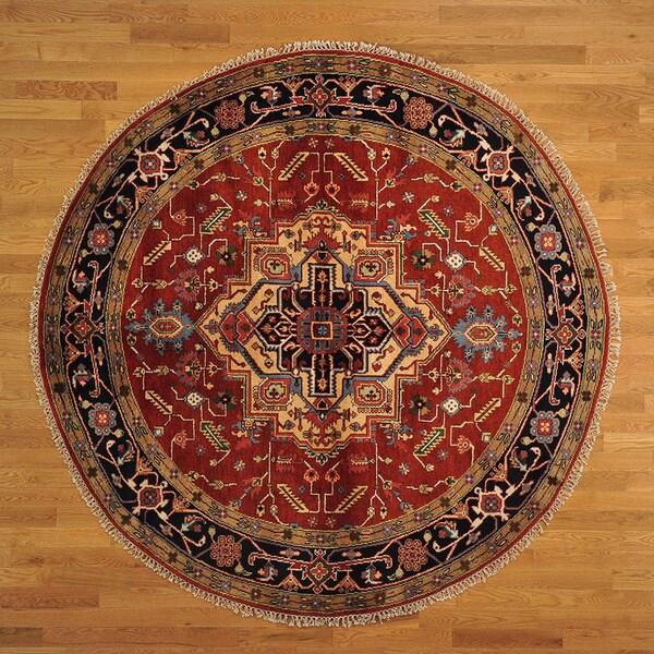 Round Hand-knotted Tribal Design Serapi Heriz Rug (8' x 8') 14231437