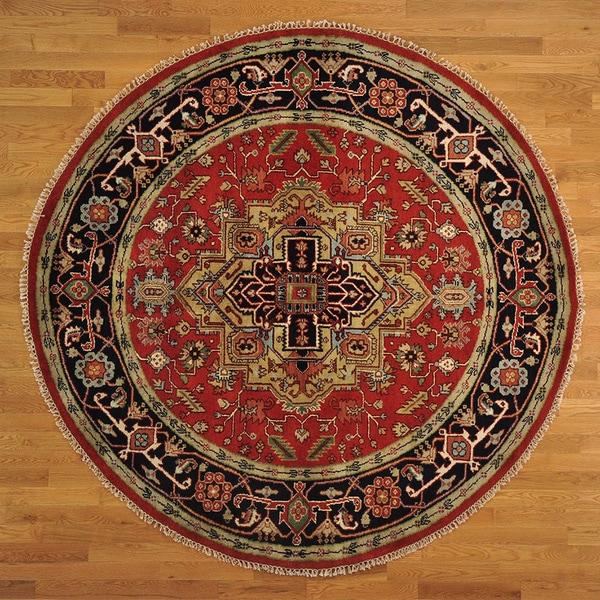 Round Serapi Heriz 100-percent Wool Rust Red Rug (8'1 x 8'3) 14231439