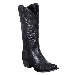 Lane Boots Women's 'Jeni Lace' Metallic Black Leather Cowboy Boots