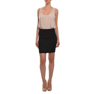 La Rok Women's Pale Pink and Black Jersey Fitted Party Dress