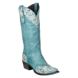 Lane Boots Women's 'Jeni Lace' Blue Leather Cowboy Boots