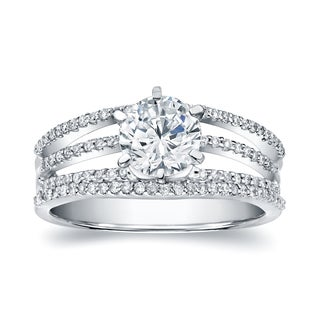 Auriya 14k White Gold 1 2/5ct TDW Certified Round Diamond Engagement Ring (H-I, SI1-SI2)