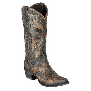 Lane Boots Women's 'Posion' Grey and Ivory Leather Cowboy Boots