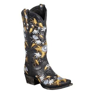 Lane Boots Women's 'Summer Bounty' Black Leather Cowboy Boots