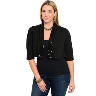 Feellib Women's Plus Size Black Cropped Cardigan with Sequins