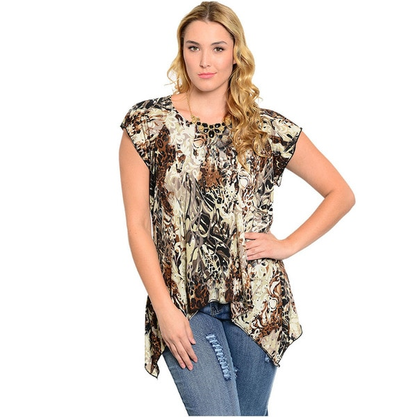 Shop The Trends Women's Plus Size Animal Print Knit Top
