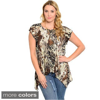 Feellib Women's Plus Size Animal Print Knit Top