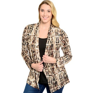 Feellib Women's Plus Size Abstract Print Open Cardigan