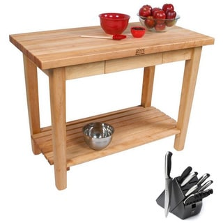 John Boos Country Maple 48 x 24 Rolling Kitchen Work Table and Henckels 13-piece Knife Block Set