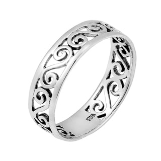 Sterling Silver Stylish Swirls of Love Ring (Thailand)