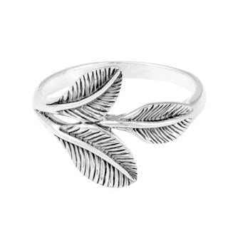 Nature's Embrace Sterling Silver Three Leaves Wrap Ring (Thailand)