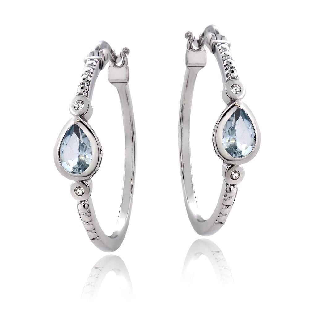 Glitzy Rocks Sterling Silver Gemstone Hoop Earrings at Sears.com