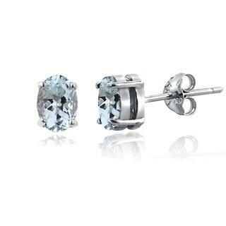 Glitzy Rocks Sterling Silver 1 3/5ct TGW Aquamarine Oval Stud Earrings
