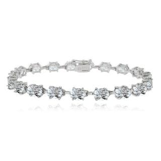Glitzy Rocks Sterling Silver 15 1/5ct Aquamarine Oval Tennis Bracelet