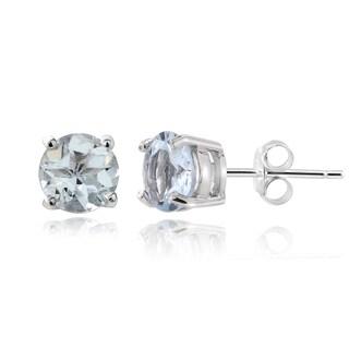 Glitzy Rocks Sterling Silver 1/2ct Aquamarine Stud Earrings
