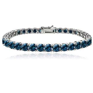 Glitzy Rocks Sterling Silver 16 4/5ct TGW London Blue Topaz Tennis Bracelet