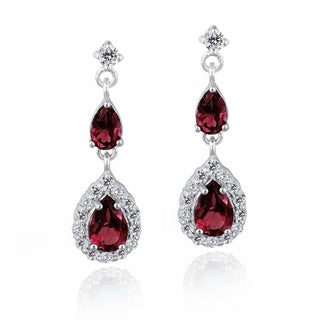 Glitzy Rocks Sterling Silver Created Gemstone and Cubic Zirconia Teardrop Earrings