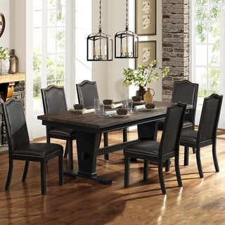 Camelot Dark Walnut Nailhead 7-piece Dining Set