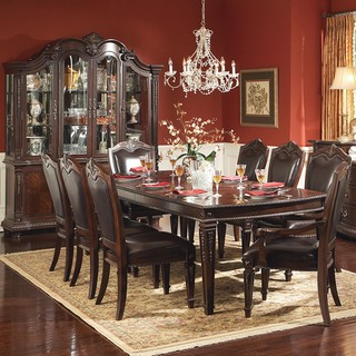 Tribeca Home Tusca Traditional Dark Brown 9-piece Extending Dining with China Cabinet and Hutch