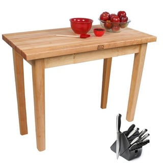 John Boos Rolling Country Maple Kitchen Work Table with Henckels 13 Piece Knife Block Set
