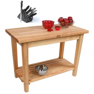 John Boos Rolling Country Work Table with Shelf and Utensil Drawer with Bonus 13 Piece Henckels Knife Set