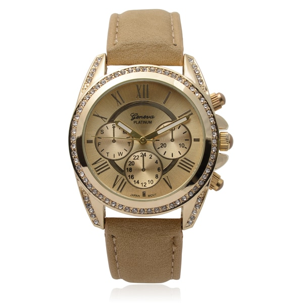 Geneva Platinum Rhinestone Accent Round Face Watch