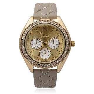 Geneva Platinum Goldtone Rhinestone Accent Quilted Band Round Dial Watch