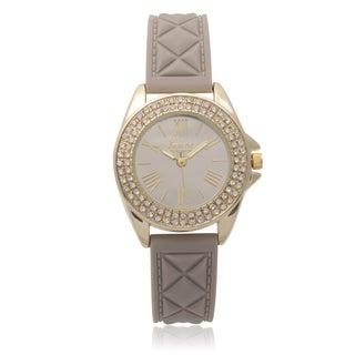Geneva Platinum Rhinestone Accent Silicone Watch