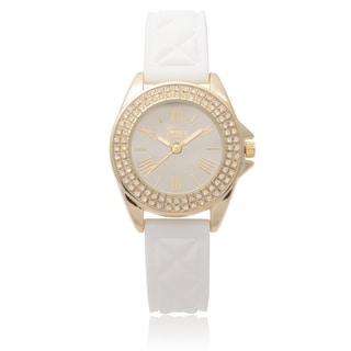 Geneva Platinum Women's Rhinestone Accent White Silicone Watch