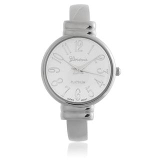 Geneva Platinum Round Face Quartz Cuff Band Watch