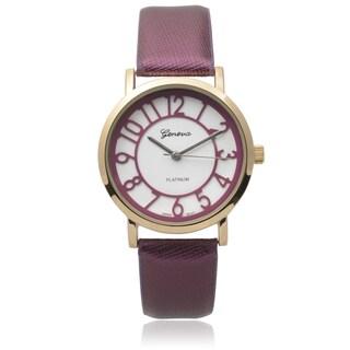 Geneva Platinum Women's Purple Faux Leather Watch