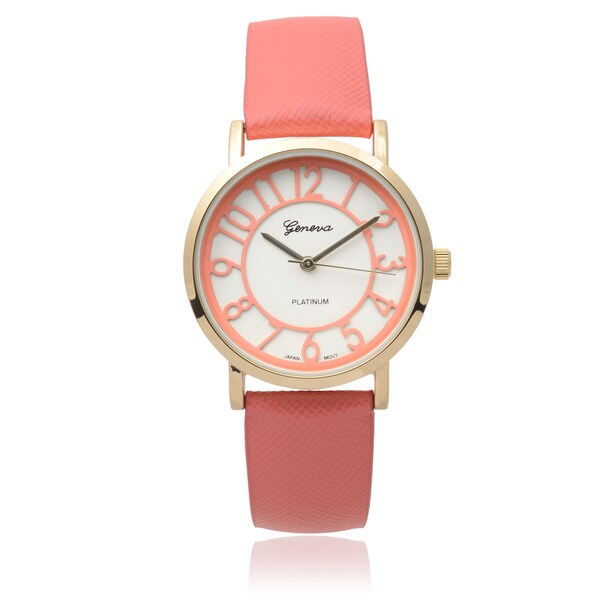 Geneva Platinum Goldtone Snap-down Round Dial Quartz Watch