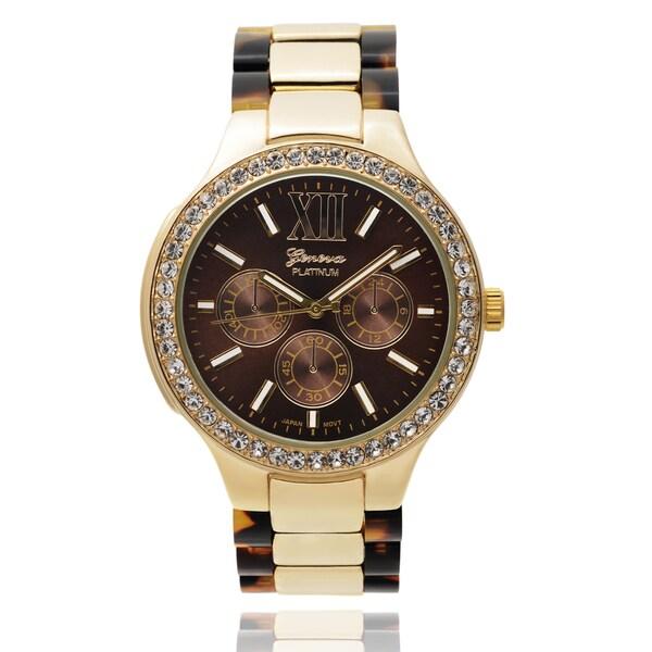 Geneva Platinum Women's SW-4757 Rhinestone Accent Round Dial Quartz Link Watch