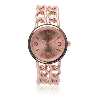 Geneva Platinum Women's SW-4780 Round Dial Quartz Chain Detail Watch