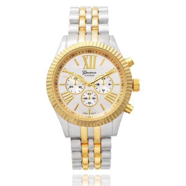 Geneva Platinum Women's Round Face Two Tone Bracelet Quartz Watch