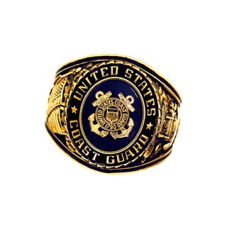 Official US Coast Guard Goldtone Blue Crystal Deluxe Engraved Ring